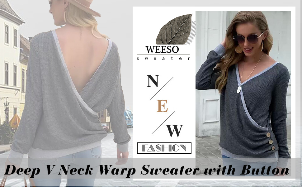 WEESO One Side Button Womens Deep V Neck Waffle Knit Pullover Sweaters Long Sleeve Wrap Tops