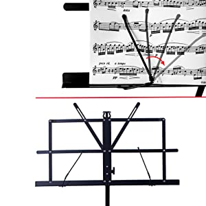music stand with rotable page clipper