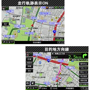 走行軌跡と目的地方向線