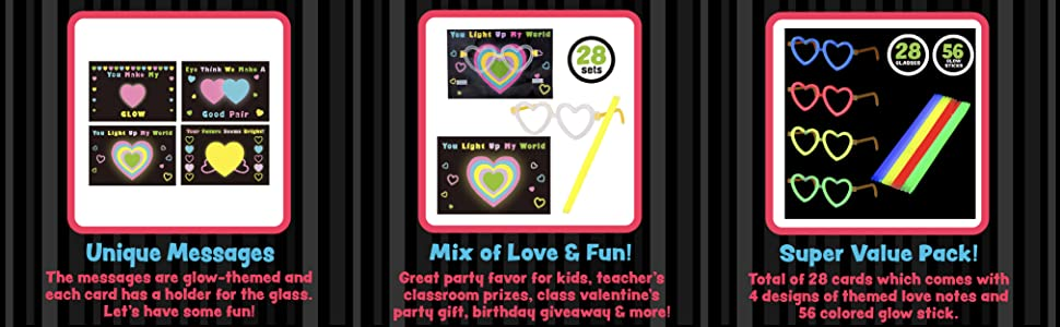 JOYIN 28 Packs Valentines Day Gifts Cards Valentines Greeting Cards for Kids with Heart Shaped Glasses and Light-up Glow Sticks Valentine Classroom Exchange Party Favor Toy