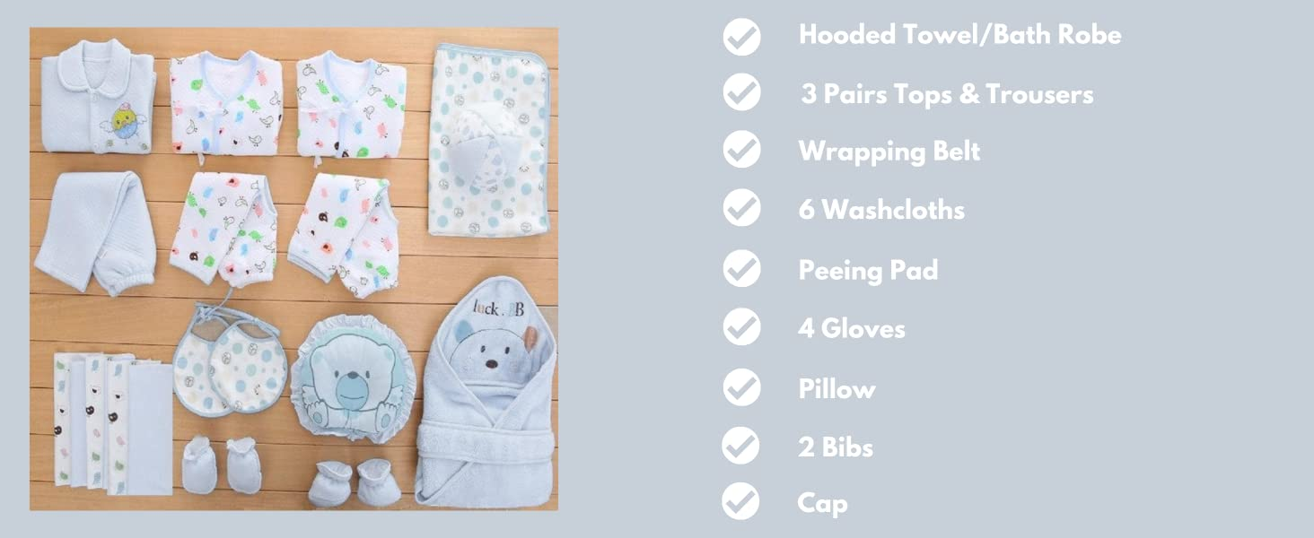 Dotmom baby clothes gift set for newborn baby boy girl clothes pack of 23 pieces for baby shower