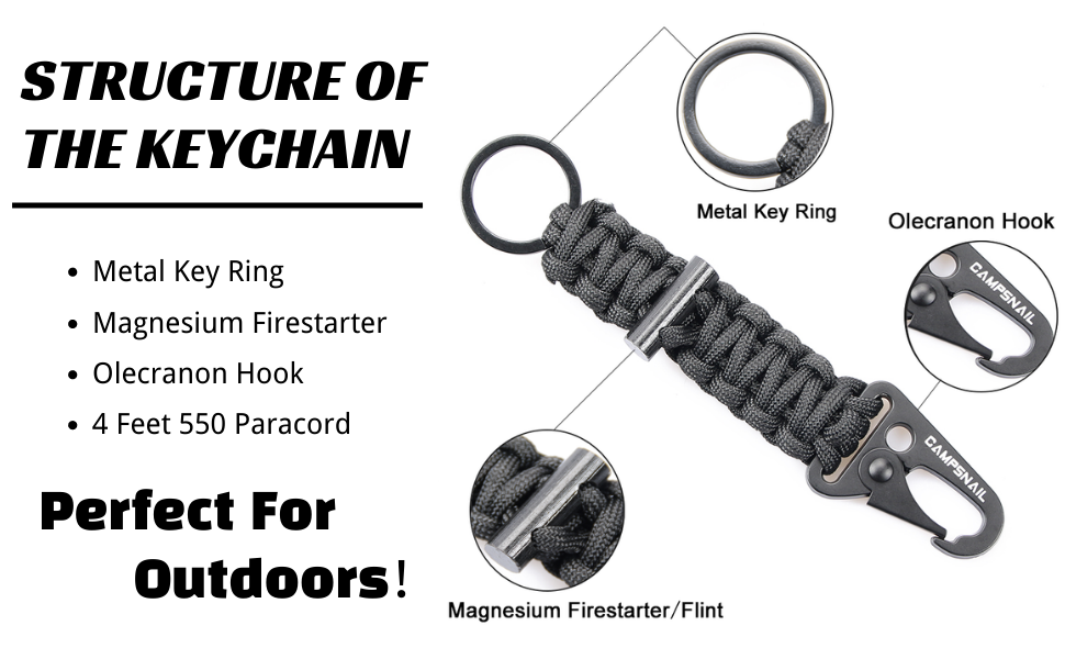 Self Defense Keychain Survival Kit Keychains with Carabiners Military Grade Type III 7 Strand 550 Lb Paracord Best for Outdoor Gear,Hiking Lost Survival Gear