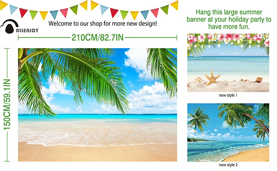 Beach Scene in Summer Vacation Sea Shells and Stars Pale Backdrop for Selfie Birthday Party Pictures Photo Dance Decor Wedding Studio Background AM028551 ALUONI 7x5ft Sand