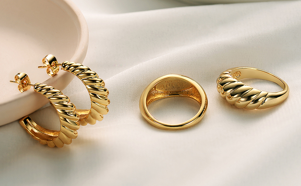Gold Croissant Earrings Twisted Round Hoop Earrings Chunky Hoop Earrings Sterling Silver Earrings