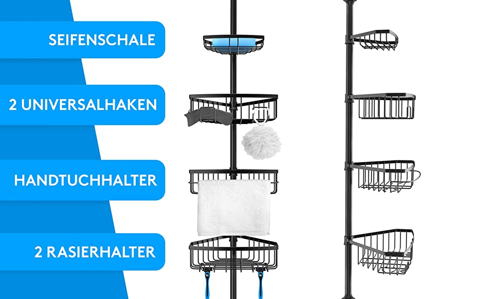 Edelhand© - Estantería telescópica para ducha (105 a 270 cm, telescópica, para ducha y bañera con 4 cestas), color negro