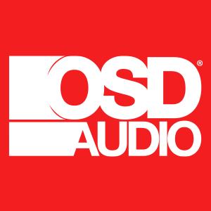 OSD Audio White Logo on a Red Background