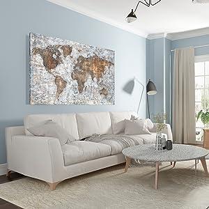 World Map Wall Art For Living Room