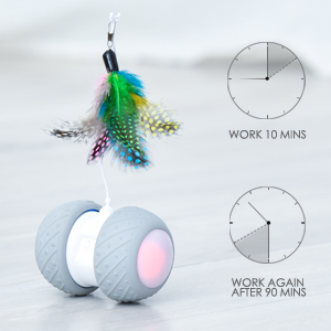 The automatic cat toy work 10 minutes every 1.5 hrs, so your cat will not be exhausted.