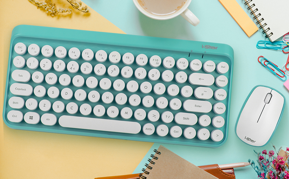 Teclado inalámbrico y ratón moderno retro - i-Star UK diseño compacto inalámbrico ratón y teclado - Tecnología de enlace automático de 2,4 GHz - Verde ...