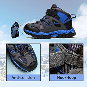 DUORO Childrens Winter Shoes Boys Non-Slip Trekking Hiking Shoes Warm Lined Trainers Comfortable Cotton Shoes