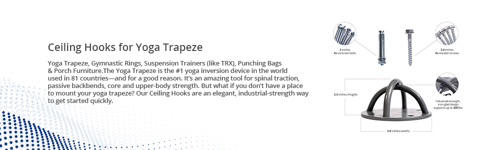 Yoga Trapeze Ceiling Hooks, Indoor or Outdoor Suspension Trainer, Set of 2, by YOGABODY