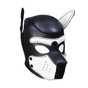 XuSha Neoprene Puppy Mask Dog Hood Pet Hat Removable Mouth Cosplay Party Props Animal Imitation Puppy Mask Medium Blue