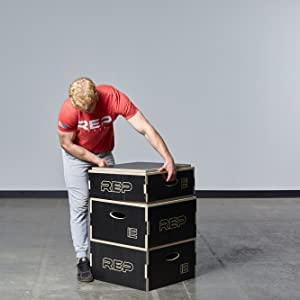 Fully Assembled Fitness and Conditioning REP FITNESS Stackable Wood Plyometric Box for Jump Training 8 Choose from 4 12 inch Plyo Box Sizes 6
