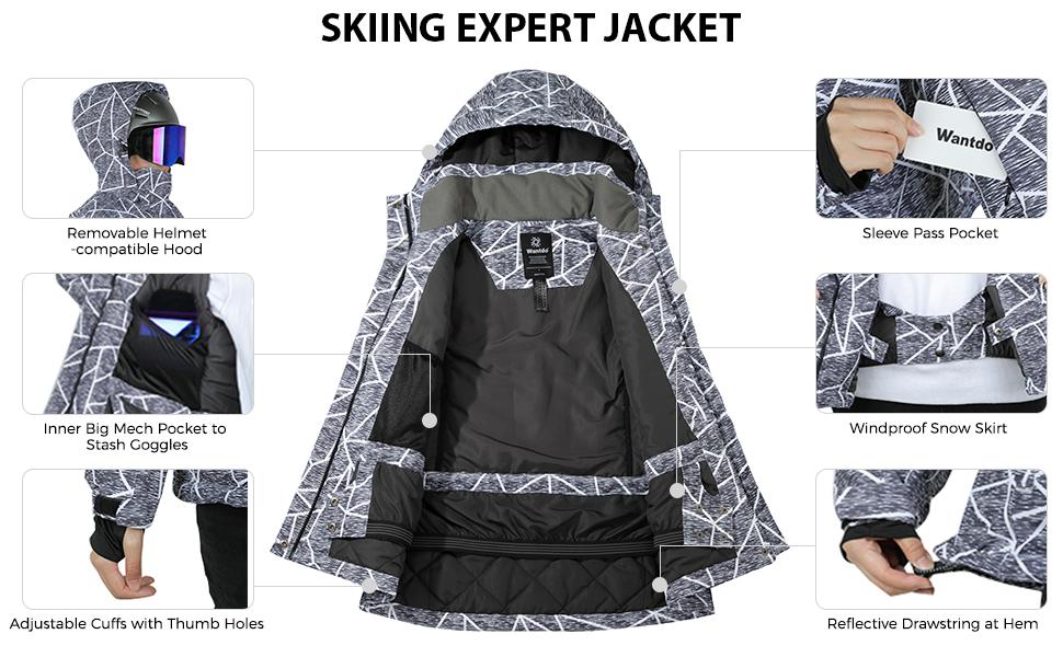 Wantdo Women's Waterproof Ski Jacket Windproof Colorful Print Sealed Seams