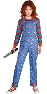 chucky halloween costume horror movie character killer murderer jumpsuit overall 80s vintage scary