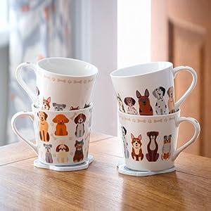 Taza Desayuno Originales de Porcelana Fina, Taza de Café con Diseño de Perros Divertidos, Regalo para Mujer y Hombres Amantes de los Perro