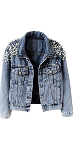 Women's Embroidered Pearl Denim Jacket