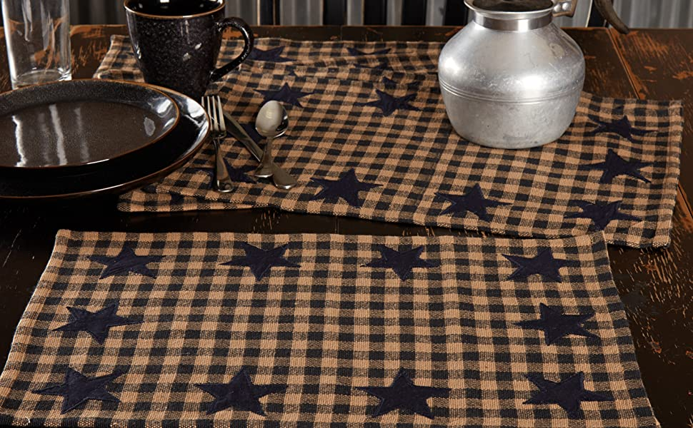 Navy Star Quilted Placemat primitive country rustic Americana VHC Brands kitchen tabletop runner