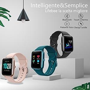 LIFEBEE Smartwatch Orologio Fitness Tracker Uomo Donna, Bluetooth Smart Watch Cardiofrequenzimetro da Polso Schermo Colori Impermeabile IP68 Orologio Sportivo Calorie Activity Tracker per Android iOS