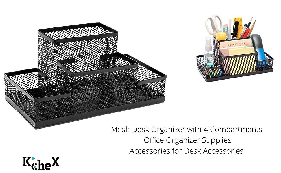 Office Mesh Desk Organizer für Schreibgeräte Zubehör 4 fach