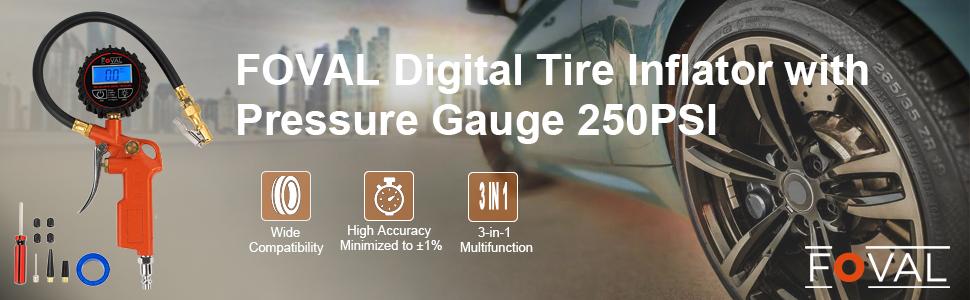 foval digital tire inflator with pressure gauge 250psi