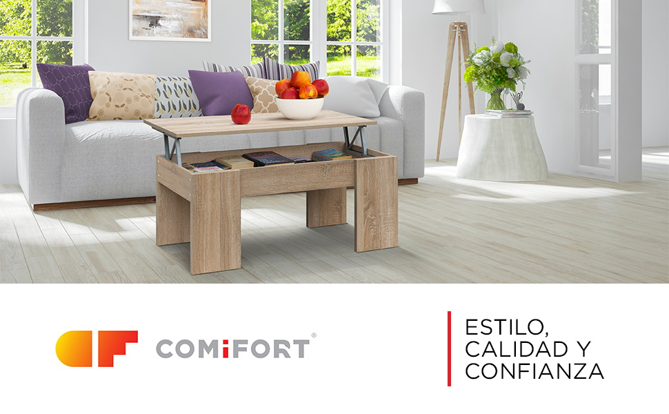 COMIFORT Mesa Centro Elevable - Mesa Salón Funcional con Gran Almacenaje, Estilo Moderno, Muy Resistente, Color Roble Sonoma, Fabricada en Europa