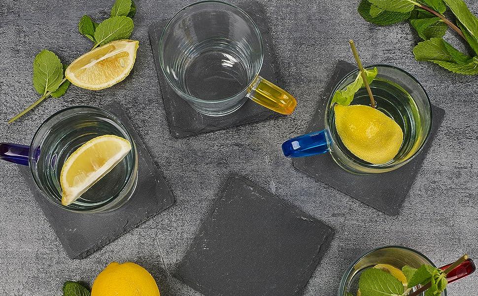 homiu natural slate coaster lifetstyle lemon drinks table premium