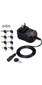 チャージャー 3V-12V 電圧調整 DCアダプター ユニバーサル 変換プラグ AC充電器 ACアダプター メデラ パンプ スピーカー LEDライト ルーター ケーブルセット (12w)