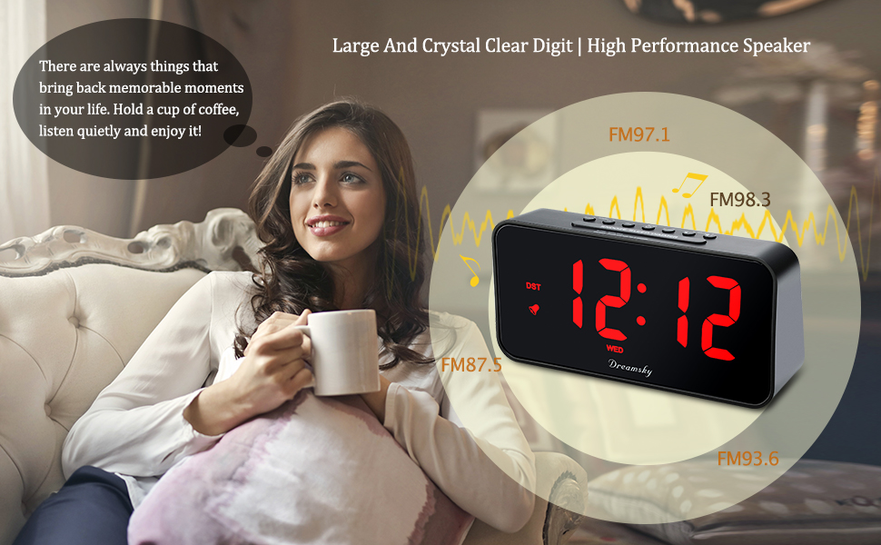 Clock radio with large light red number