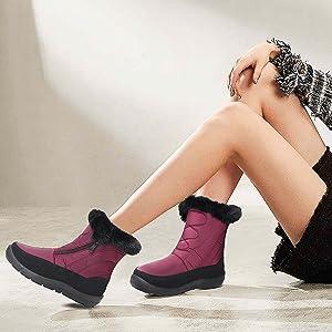 Ladies Leather Lightweight Waterproof Walking Hiking Trekking Comfort Memory Foam Shoes