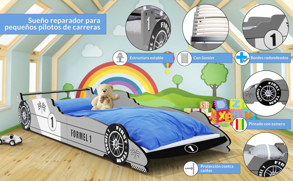 Cama para niño con diseño de coche de Fórmula 1, color a elegir, esquinas redondeadas