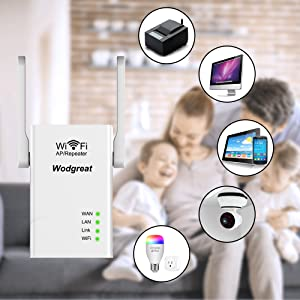 Wodgreat Repetidor WiFi Amplificador Señal WiFi 300Mbps 2,4G WiFi Repeater Extender con 2 Puertos Ethernet y 2 Antenas, Access Point/Repeater/Router ...