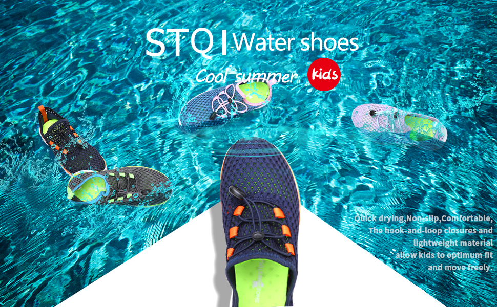 STQ Kids Water Shoes Boys Girls Sneakers for Summer Camp Beach Swim Pool