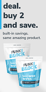 FunkBlock Shower Wipes 2-Pack Deal