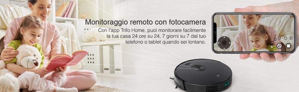 Trifo Ironpie h6 Potente Robot Aspirapolvere Senza Fili con Telecamera di Navigazione App per Controllo Manuale e Funzione Autoricarica Bianco