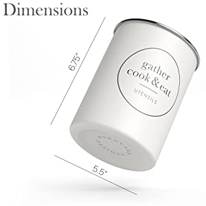 Dimensions pic of Metal Utensil Crock Holder