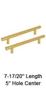 """5"""" gold brushed brass cabinet pulls drawer dresser handles for kitchen and bathroom"""