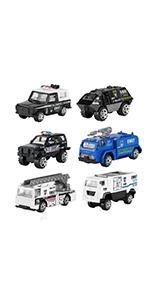 6 Pcs Diecast Police Toy Vehicles