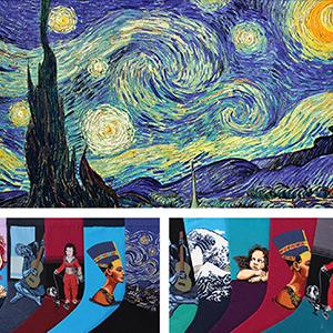 Famous Painting Art Dress Socks Novelty Crazy