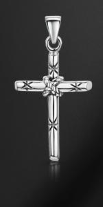 Ciondolo croce in corda d'argento