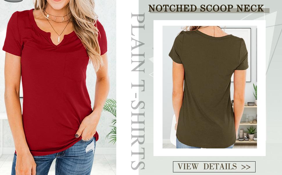 womens notched scoop neck plain t shirts