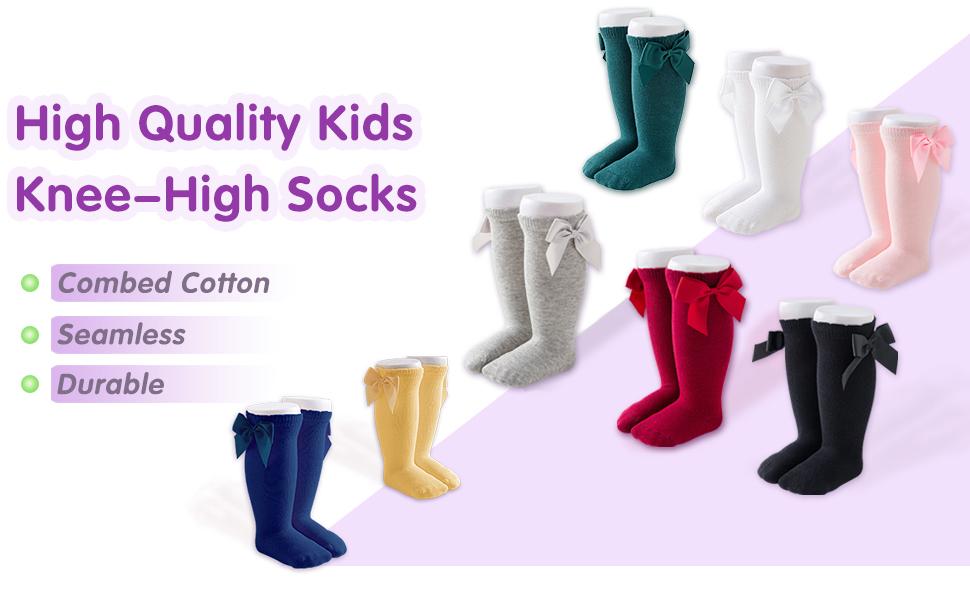 Pu Ran/® Cotton Girls Kids Cute Bow Tights High Knee Socks
