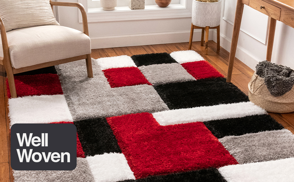 Well Woven area rug contemporary hand carved geometric 3d high pile modern black white grey shag