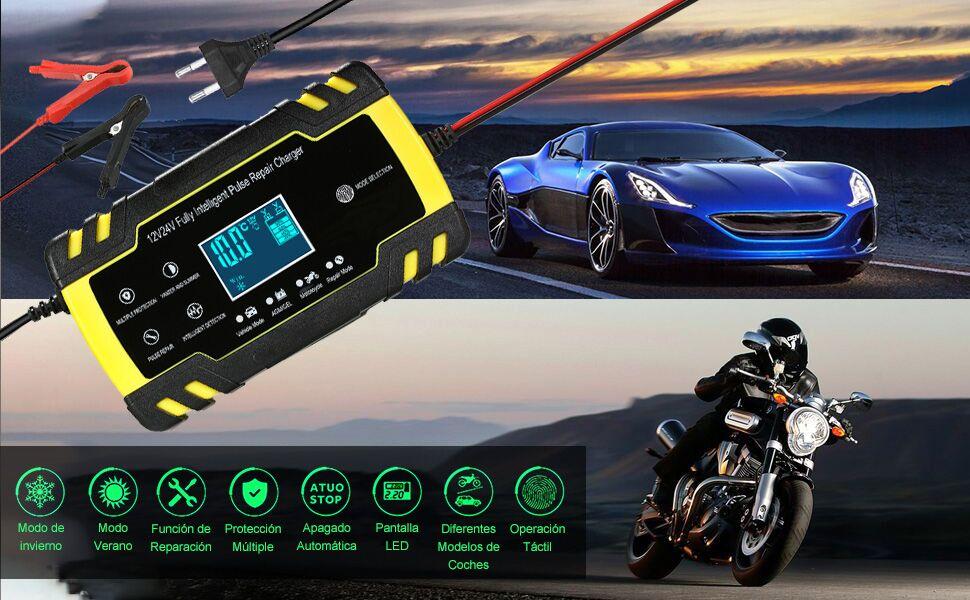 KKmoon Cargador Bateria 12V 8A /24V 4A Mantenimiento bateria para Coche Moto