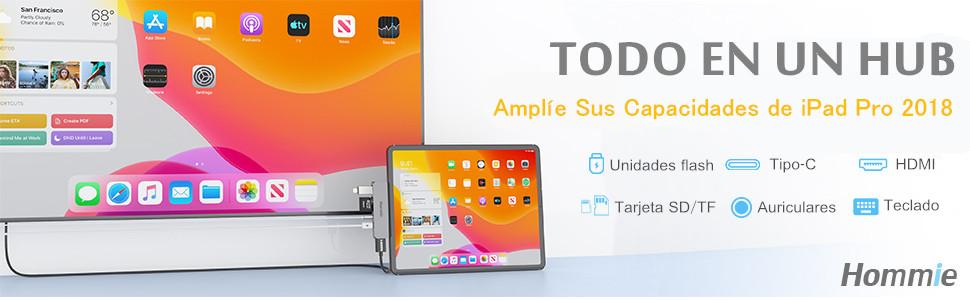 6 En 1 HUB USB C para iPad Pro 2018/2020,Hommie Adaptador iPad Pro a HDMI 4K,Carga PD,Auriculares de 3.5mm,Lector Tarjeta,Dock USB C para Macbook Pro/Samsung S8/S9/Note8 y Más Dispositivos Tipo C,Gris: Amazon.es:
