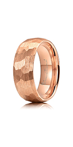 rose gold hammered tungsten ring