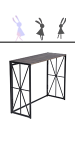 brown folding console table