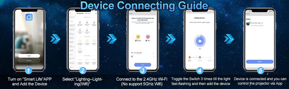 Star Projector Tanbaby Smart WiFi Galaxy Light Projector Starlight Projector Bluetooth Music Speaker