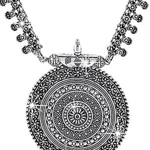 Beauty trendy german silver oxidized Latest pendant set