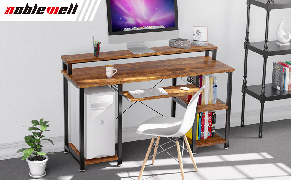 Computer Desk with Monitor Stand Storage Shelves Keyboard Tray